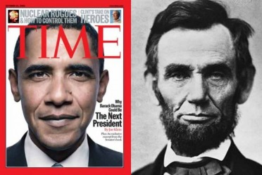 Obama compares himself to Abraham Lincoln, but 44 and grammar do not agree